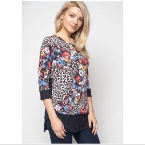 Tops - Floral Animal Print Tunic